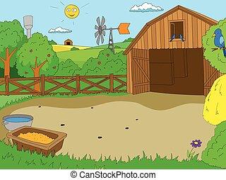 boek, boerderij, spotprent, kleur, vector, kinderen