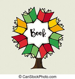 boek, boompje, concept, illustratie, voor, opleiding