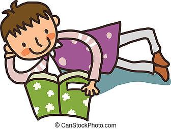 boek, bovenkant, lezende , man, aanzicht