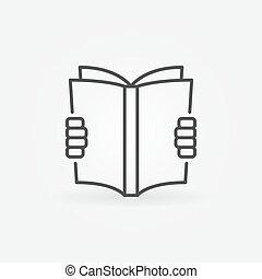 boek, concept, lezende , pictogram