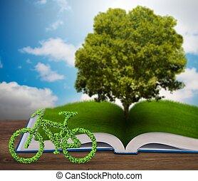 boek, concept, open, 3d, ecologisch, fiets, -, vertolking