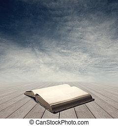 boek, concept, open, kennis