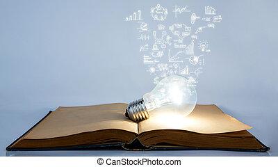 boek, en, gloeilamp, met, zakelijk, grafiek