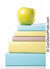 boek, en, groene appel
