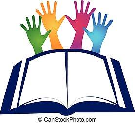 boek, en, handen, logo