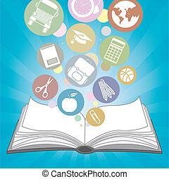 boek, en, iconen, school