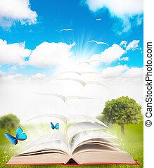 boek, en, natuur