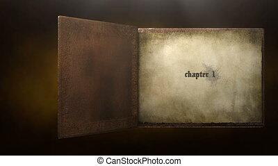 boek, geanimeerd, tekst