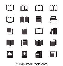 boek, glyph, iconen