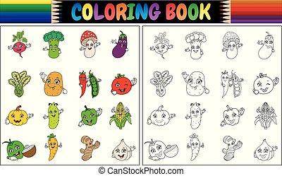 boek, groentes, spotprent, schattig, kleuren