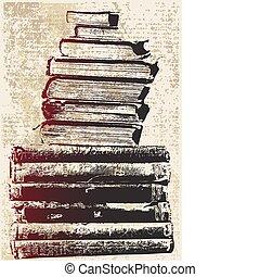boek, grunge, stapel