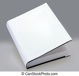 boek, hard, dekking, witte , vlakte