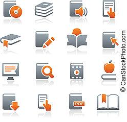 boek, iconen, //, grafiet, reeks