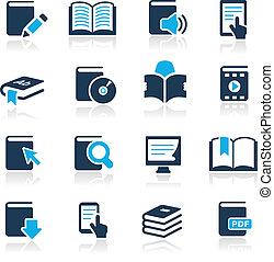 boek, iconen, //, hemelsblauw, reeks