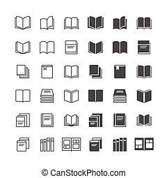 boek, iconen, included, normaal, en, in staat stellen, state.
