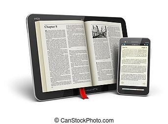 boek, in, tablet, computer, en, smartphone