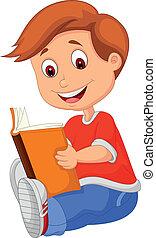 boek, jonge jongen, lezende , spotprent