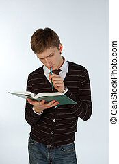 boek, jonge man
