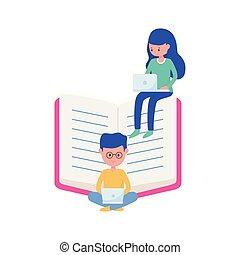 boek, jongen, scholieren, online, meisje, laptops, leren