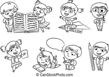 boek, kleuren, back, school.