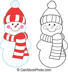 boek, kleuren, spotprent, snowman.