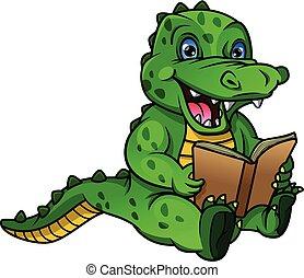 boek, krokodil, lezende , spotprent, schattig
