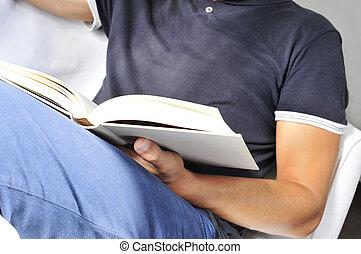 boek, lezende , man, jonge