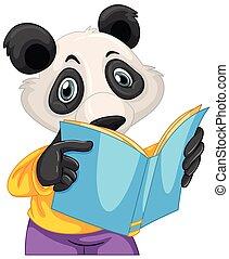 boek, lezende , panda