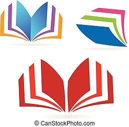 boek, lezende , pictogram, stellen