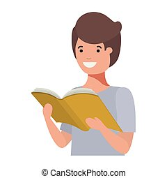 boek, lezende , student, jonge