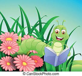 boek, lezende , worm