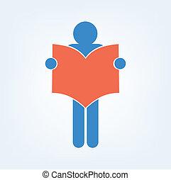 boek, lezer, pictogram, meldingsbord