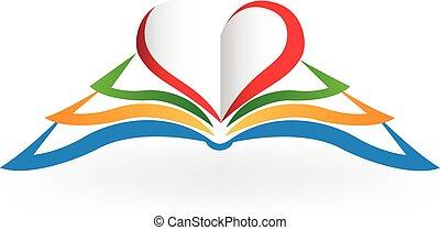 boek, liefdehart, logo, vorm