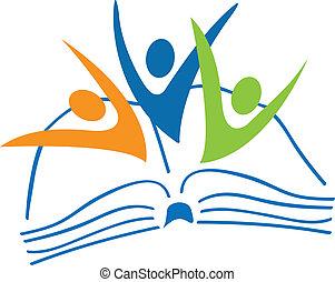 boek, logo, scholieren, figuren, open