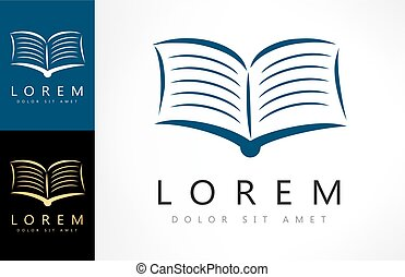boek, logo, vector