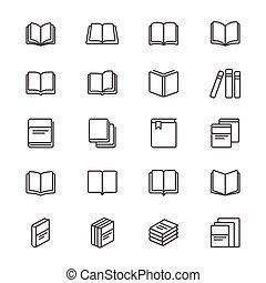 boek, mager, iconen