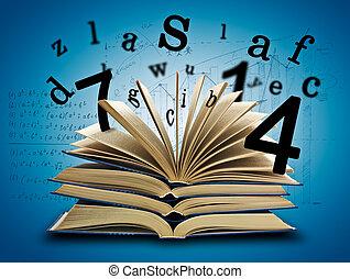 boek, magisch, brieven, getallen