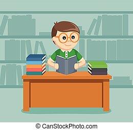 boek, mannelijke , lezende , student