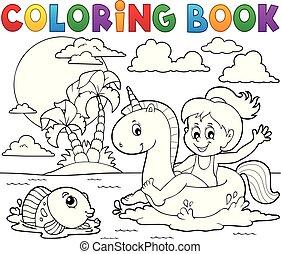 boek, meisje, 2, kleuren, zwevend, eenhoorn