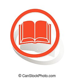 boek, meldingsbord, sticker, sinaasappel