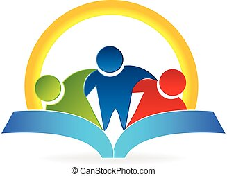 boek, mensen, zon, logo, omhelzing