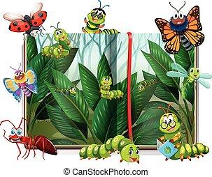 boek, met, anders, insecten, in, tuin