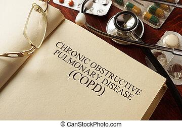 boek, met, diagnose, copd