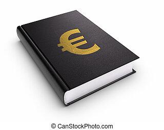 boek, met, euroteken