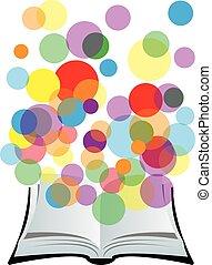 boek, met, kleurrijke, cirkels