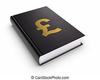 boek, met, sla hard teken