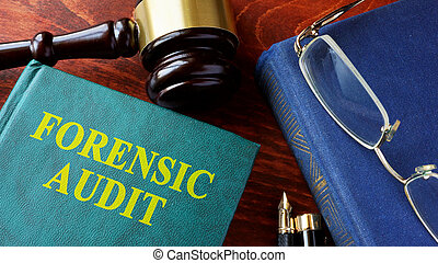 boek, met, titel, gerechtelijk, audit.