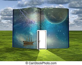 boek, met, toekomstfantasie, scène, en, open, deuropening,...