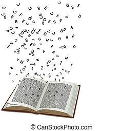 boek, met, vliegen, tekst