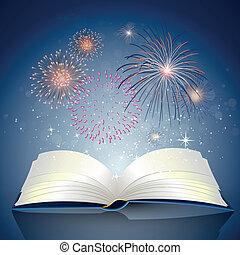 boek, met, vuur, werken